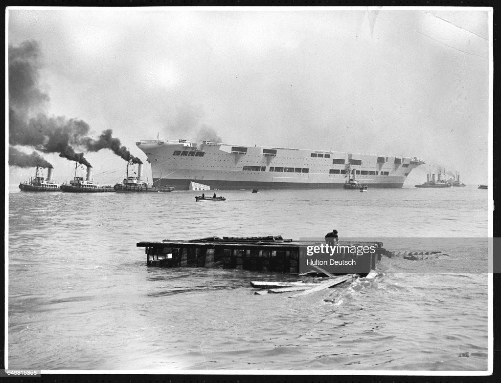 Launch at Cammel Laird's, Birkenhead, of the 22,000 ton Ark Royal : News Photo