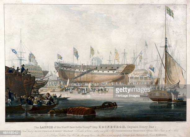 Launch of the East India Company's ship the 'Edinburgh' in 1825 The launch took place at the East India Docks