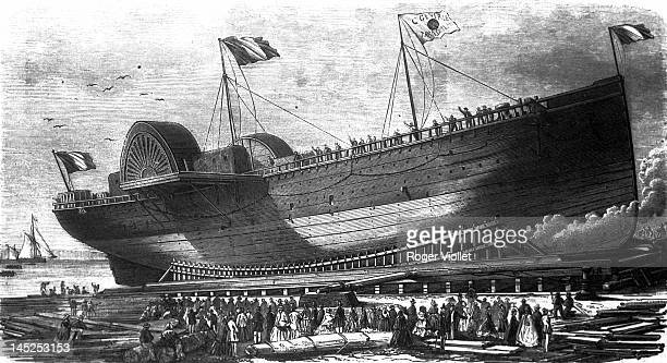 Launch of the 'Empress Eugenie' liner belonging to the transatlantic company SaintNazaire Liverpool 1855