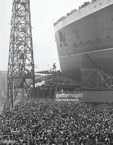 Launch of the Queen Elizabeth, Clydebank, 27 September 1938. Photograph by Edward G Malindine.