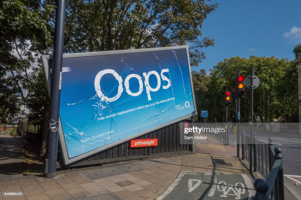 O2 Oops Campaign Promoting Screen Replacement Service London : News Photo
