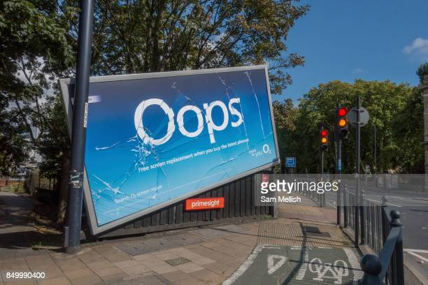 O2 launches multimillionpound 'Oops' campaign promoting screen replacement service with a half fallen billboard and fake cracked screen captured on...