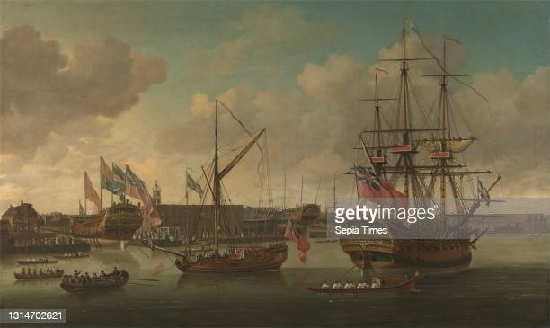 Launching at Deptford, John Cleveley the elder, ca. 1712–1777, British, ca. 1757, Oil on canvas, Support : 41 3/4 × 72 1/8 inches , audience, barge ,...