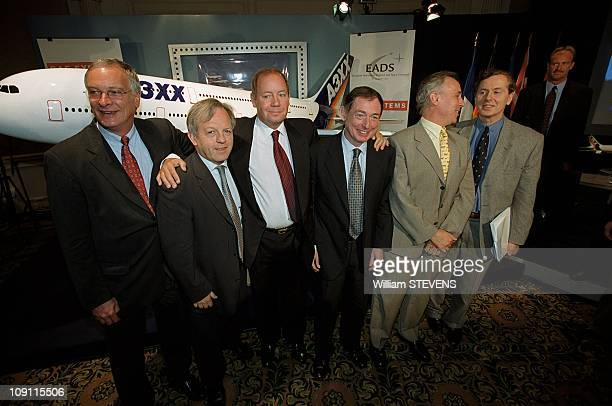 Launching Of Airbus A3Xx Program On June 23Th 2000 In Paris France Philippe Camus 2Nd From Left Noel Forgeard Rainer Hertrich MTurner Alain Fernandez