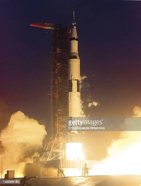 Launching Of Apollo 12 Apollo 12 Lifting Off From John F Kennedy Space Center Cape Canaveral Florida Nov 1969 This Was The 2Nd Mission Of The Manned...