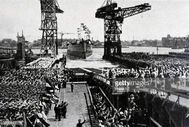 Launching of the 'Graf Spee' in 1934 Admiral Graf Spee was a Deutschlandclass heavy cruiser which served with the Kriegsmarine of Nazi Germany during...