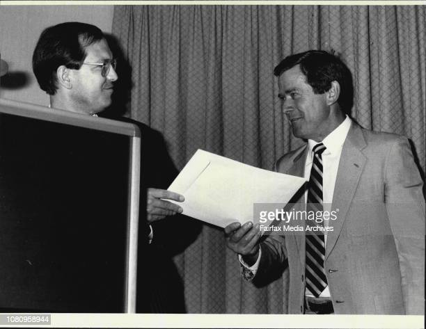 Launching of the SMH Good Food GuideChris Anderson congratulates Aldo Zuzza of Darcy's Restaurant September 24 1985