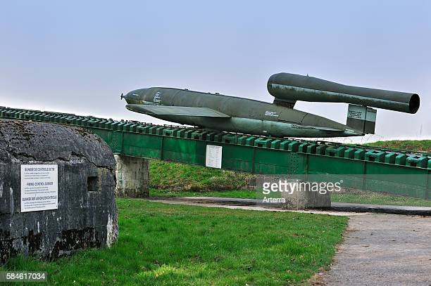 Launching ramp with flying bomb / doodlebug at the V1 launch site at Ardouval / Val Ygot Normandy France