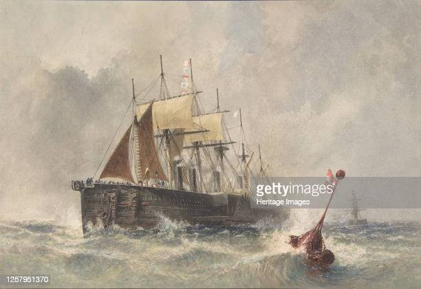 Launching the Buoy from the Bow of the Great Eastern on August 8th 186566 Artist Robert Charles Dudley