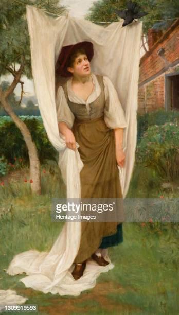 Laundress Startled by a Blackbird, 1891. Artist John Scott. .