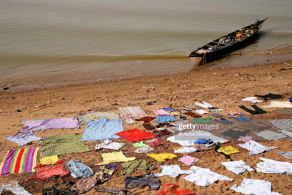 Laundry along the Niger : Stock Photo