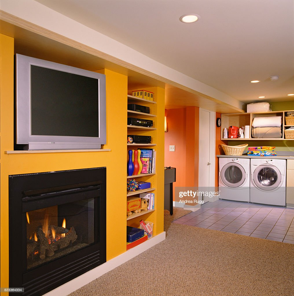 Laundry And Entertainment In Finished Basement High Res Stock Photo Getty Images