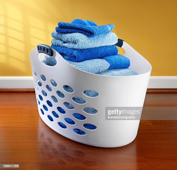 Laundry basket filled with towels