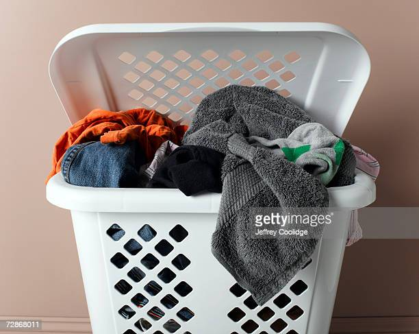 Laundry basket filled with washing, close-up