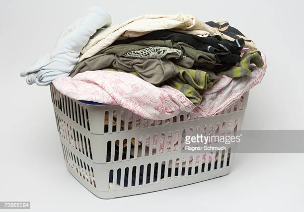 Laundry basket full of clothes