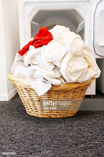 Laundry Basket White Load of Laundry with Red