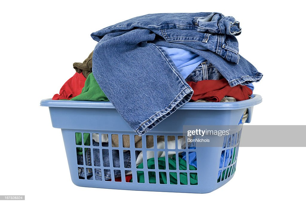 Laundry Basket with Clipping Path : Stock Photo
