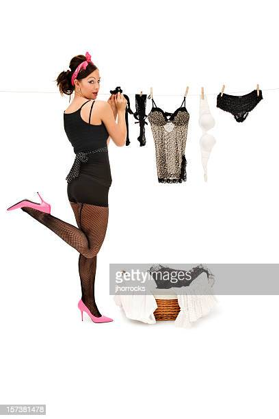 laundry day - stocking tops stock photos and pictures