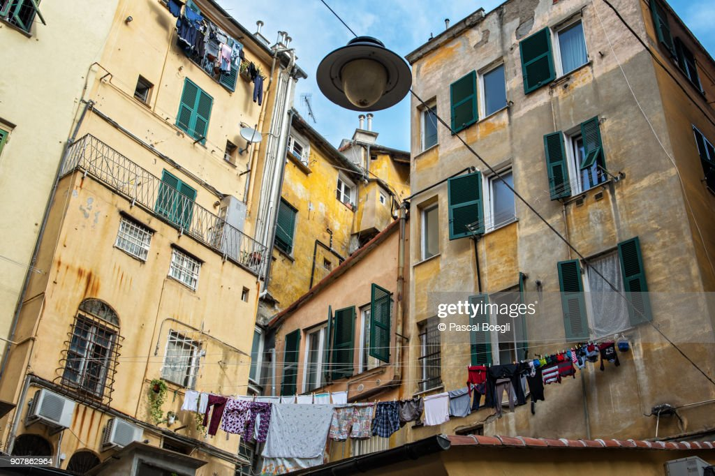 Laundry drying in the historic center of Genoa, Liguria, Italy : Stock Photo
