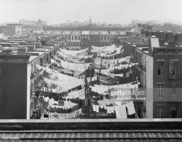 Laundry Hanging between Tenement Buildings Park Avenue 107th St New York City New York USA Detroit Publishing Company 1900
