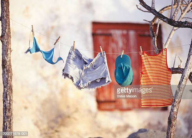 Laundry hanging on clothes line, outdoors