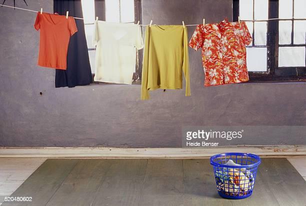 laundry hanging on clothes line - heide keller stock-fotos und bilder
