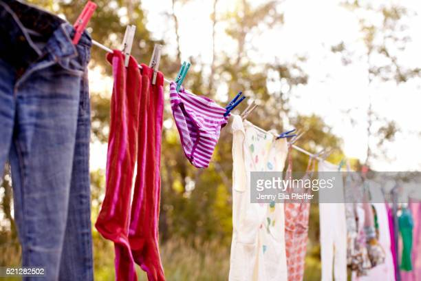 Laundry hanging on line outside