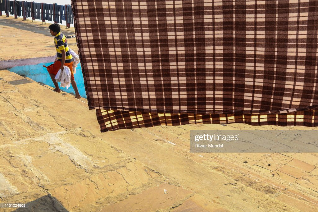 Laundry Hanging Out To Dry At Varanasi : Stock Photo