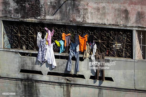Laundry hanging to dry on a balcony on September 27 2015 in Beira Mozambik