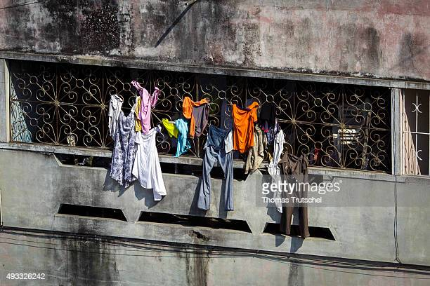 Laundry hanging to dry on a balcony on September 27 2015 in Beira Mozambique