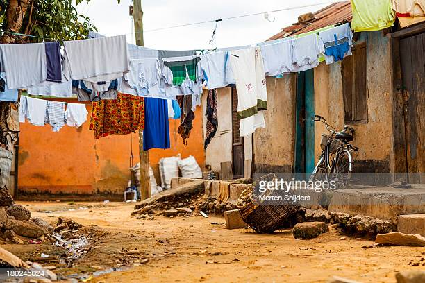Laundry in a dirt road street