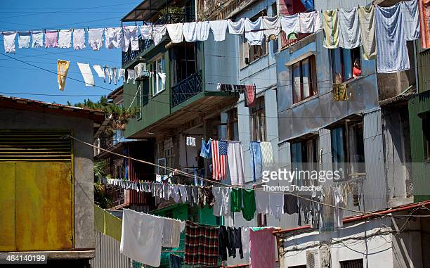 Laundry lines hanging in a backyard on June 02 in Batumi Georgia Photo by Thomas Trutschel/Photothek via Getty Images
