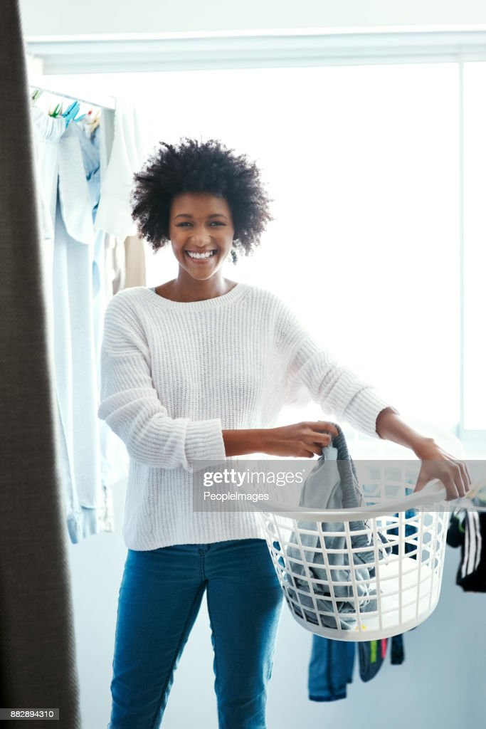 Laundry never piles up in my home : Stock Photo