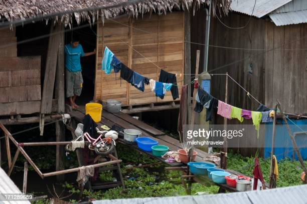 Laundry over Amazon River village, Iquitos