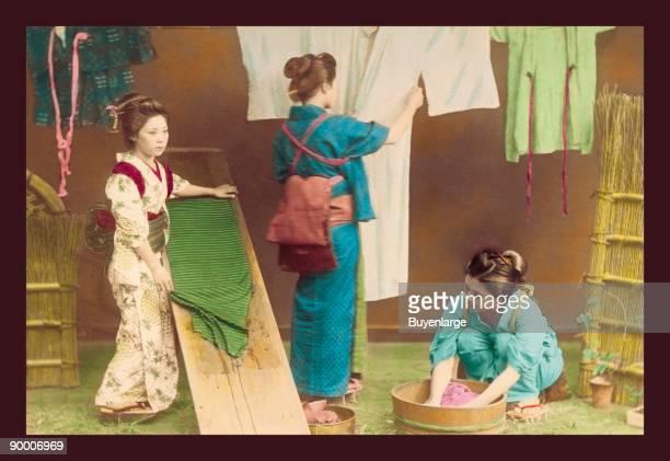 Laundry shop washing kimono as samurai looks for his clothes