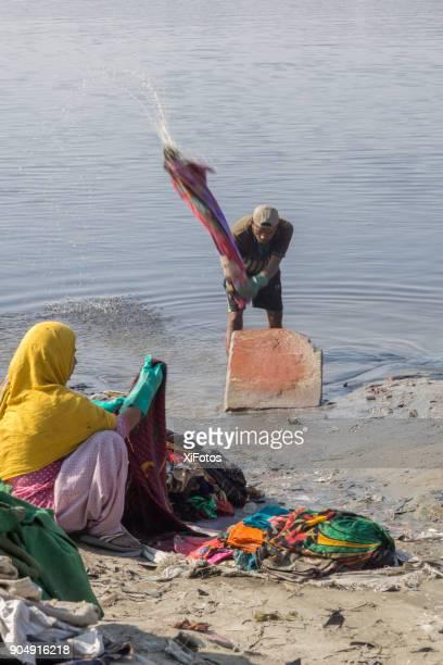 Wäsche-Arbeitnehmer bei der Arbeit in Agra, Indien