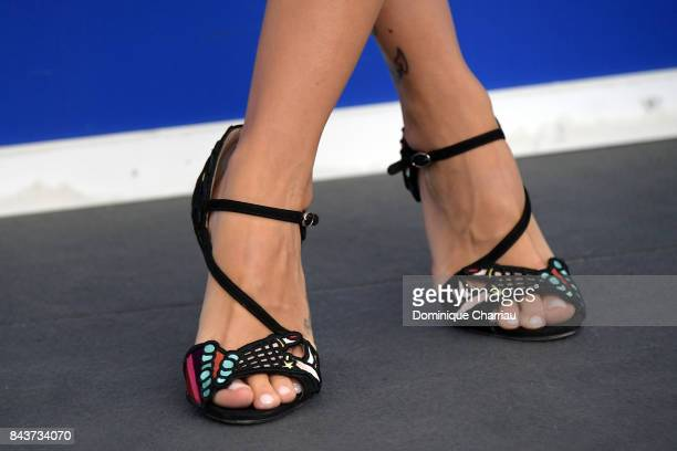 Laura Adriani shoe detail attends the 'Emma ' photocall during the 74th Venice Film Festival on September 7 2017 in Venice Italy