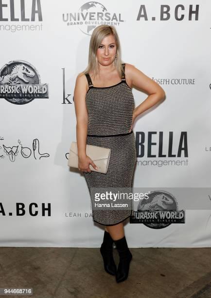 Laura Albertin arrives ahead of the Jurassic World Fallen Kingdom Runway Show on April 11 2018 in Sydney Australia
