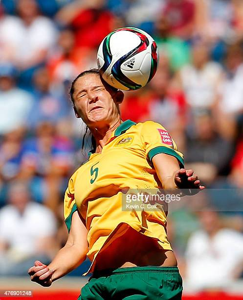 Laura Alleway of Australia controls a header against Nigeria during the FIFA Women's World Cup Canada 2015 match between Australia and Nigeria at...