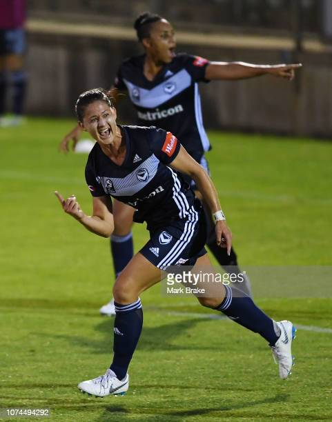Laura Alleway of Melbourne Victory celebrates after scoring her teams second goal during the round eight WLeague match between Adelaide United and...