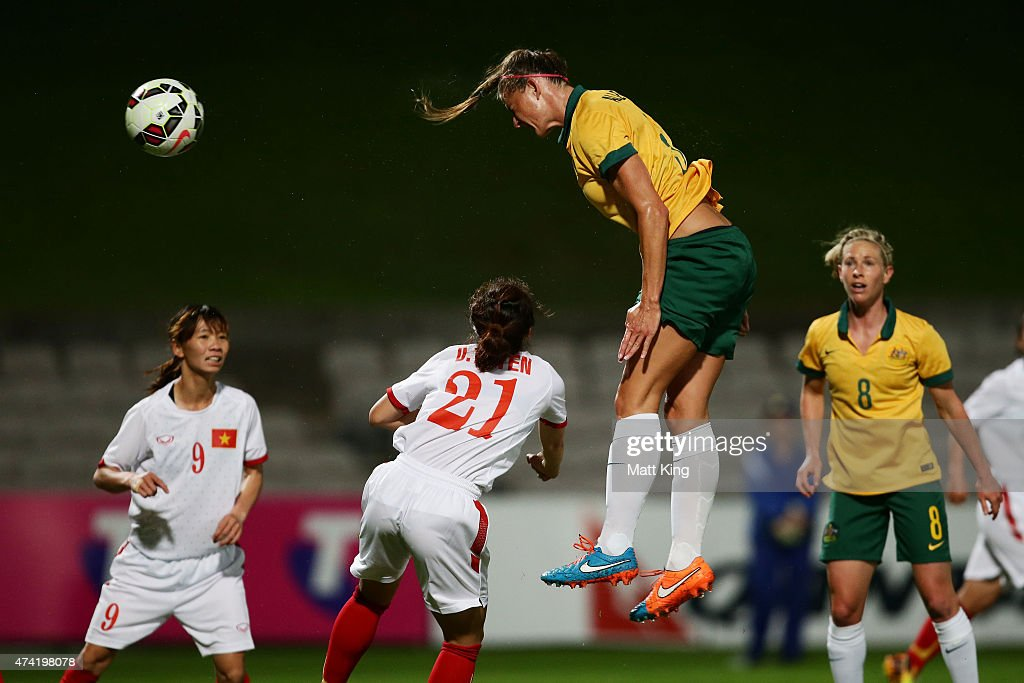 Laura Alleway of the Matildas heads the ball to score a goal during the international women's friendly match between the Australian Matildas and Vietnam at WIN Jubilee Stadium on May 21, 2015 in Sydney, Australia.
