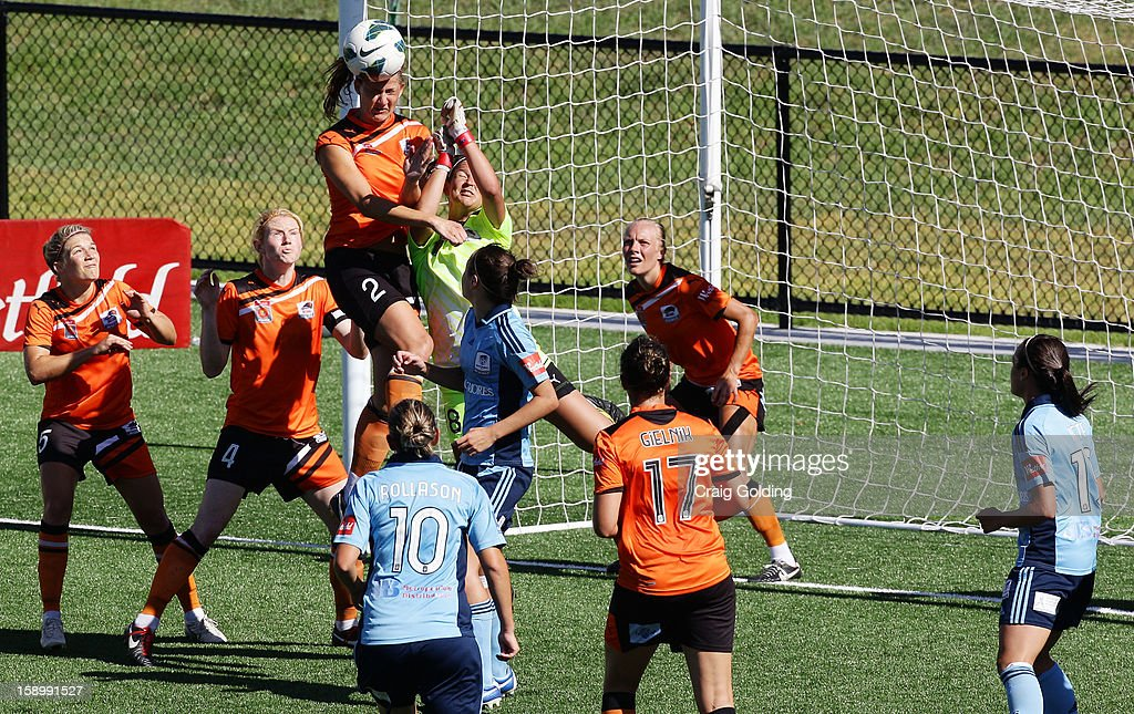 Laura Alleway of the Roar heads the ball safely away from the Roar goals during the round 11 W-League match between Sydney FC and the Brisbane Roar on January 5, 2013 in Sydney, Australia.