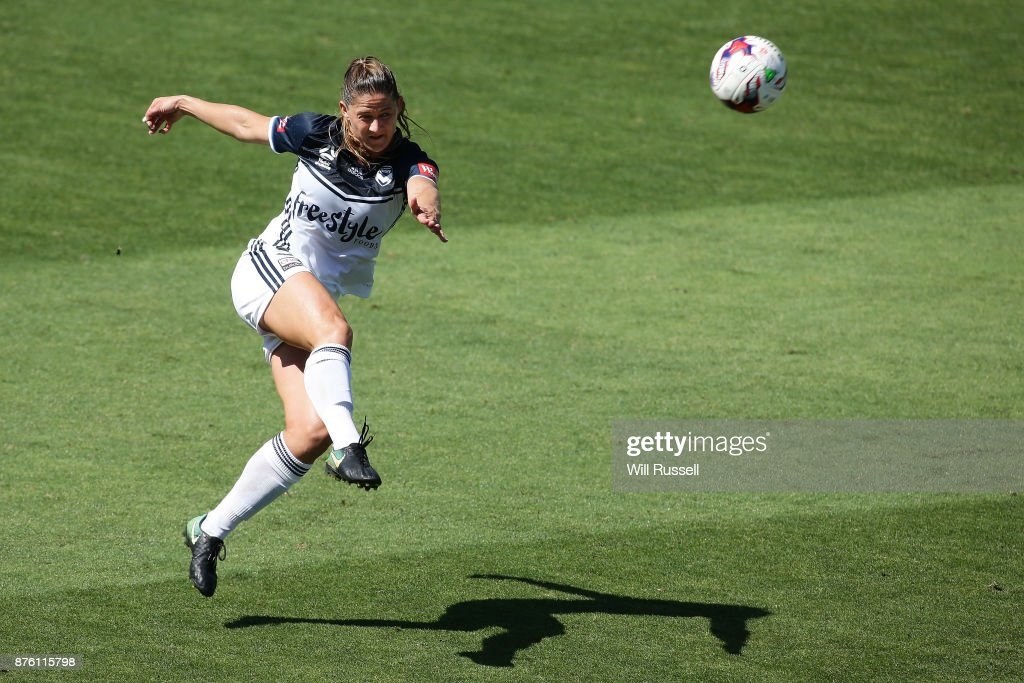 Laura Alleway of the Victory kicks the ball during the round four W-League match between Perth Glory and Melbourne Victory at nib Stadium on November 19, 2017 in Perth, Australia.