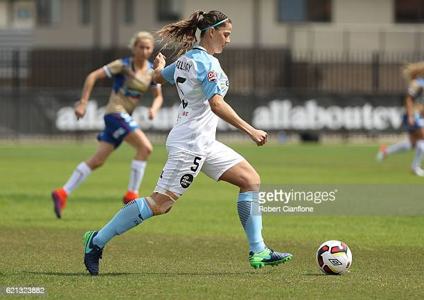 Laura Alleyway of Melbourne City runs with the ball during the round one WLeague match between Melbourne City and the Newcastle Jets at CB Smith...