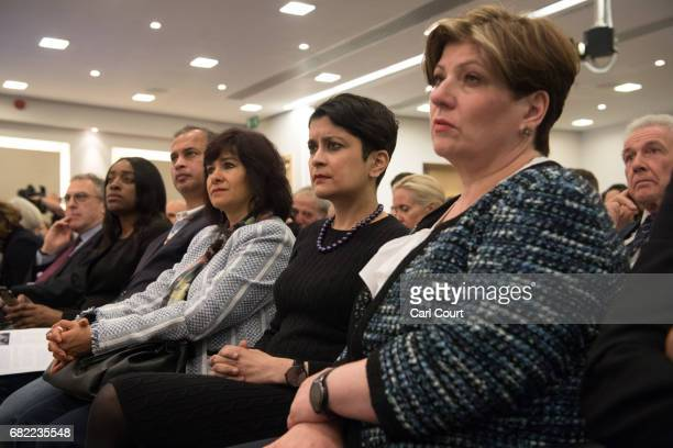 Laura Alvarez the wife of Labour leader Jeremy Corbyn and Labour peer Shami Chakrabarti and Shadow Foreign Secretary Emily Thornberry listen to a...