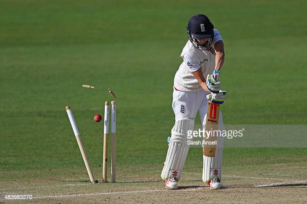 Laura Amarsh of England is bowled by Australia's Ellyse Perry during day four of the Kia Women's Test of the Women's Ashes Series between England and...