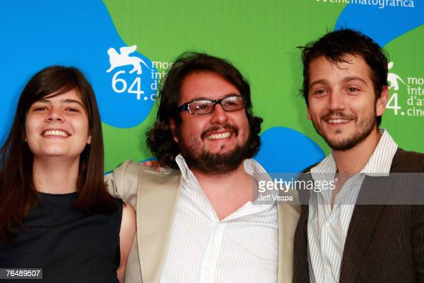 Laura Amelia Guzman Pablo Cruz and Diego Luna attend the Cochochi Photocall during Day 6 of the 64th Annual Venice Film Festival on September 3 2007...