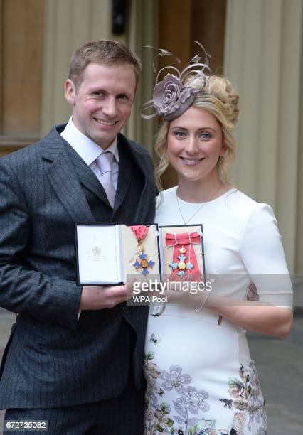 Laura and Jason Kenny after they were awarded CBEs for services to cycling by the Princess Royal during an Investiture ceremony at Buckingham Palace...