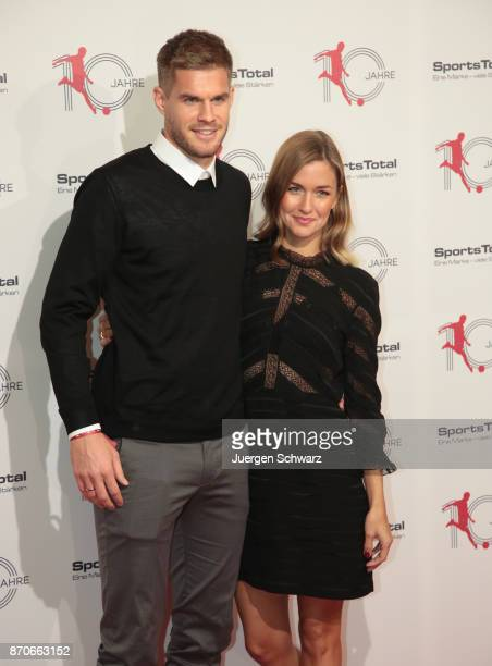 Laura and Simon Terodde pose at the 10th anniversary celebration of the Sports Total Agency on November 5 2017 in Cologne Germany