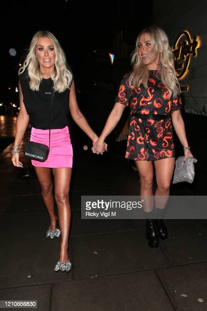 Laura Anderson and Gabby Allen seen attending the launch of Sam Bird's new single in London's Hard Rock Hotel on March 05, 2020 in London, England.